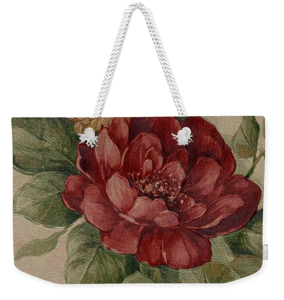 Weekender Tote Bag featuring the mixed media Elegant Rose by Writermore Arts