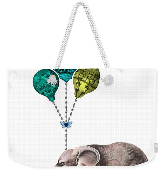 Elephant Holding Blue And Yellow Balloons Weekender Tote Bag