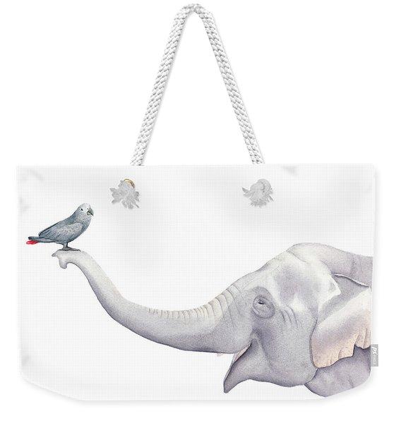 Elephant And Bird Watercolor Weekender Tote Bag