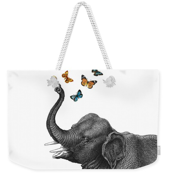 Elephant Blowing Butterflies From His Trunk Weekender Tote Bag
