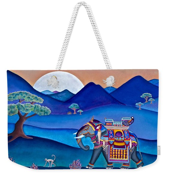 Elephant And Monkey Stroll Weekender Tote Bag
