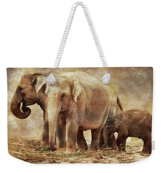 Elephant Family Weekender Tote Bag