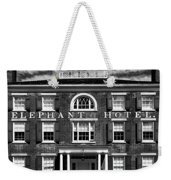 Weekender Tote Bag featuring the photograph Elephant Hotel by Eric Lake