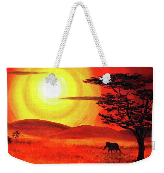 Elephant In A Bright Sunset Weekender Tote Bag