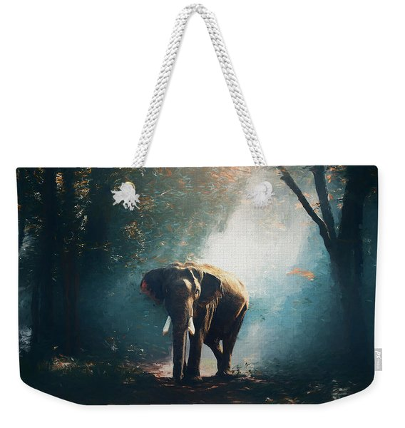 Elephant In The Mist - Painting Weekender Tote Bag