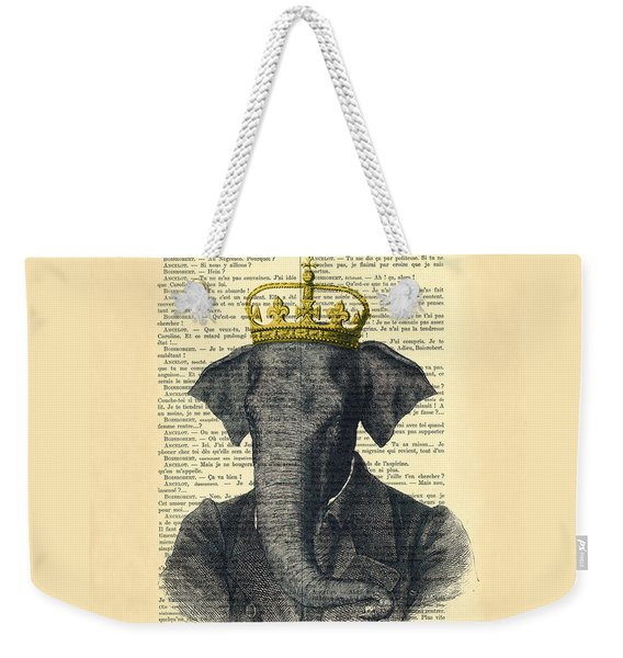 Elephant With Crown Nursery Decor Weekender Tote Bag