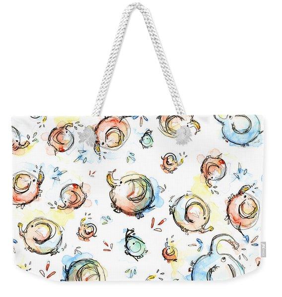 Elephant Pattern Watercolor Weekender Tote Bag