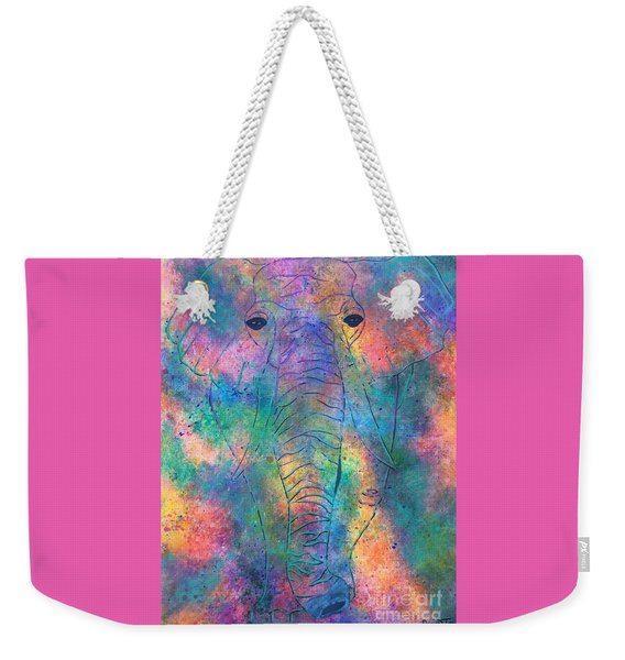 Weekender Tote Bag featuring the painting Elephant Spirit by Denise Tomasura