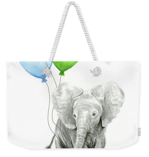 Elephant Watercolor Baby Animal Nursery Art Weekender Tote Bag