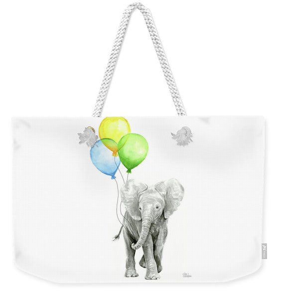 Elephant Watercolor Baby Animal Nursery Art Weekender Tote Bag
