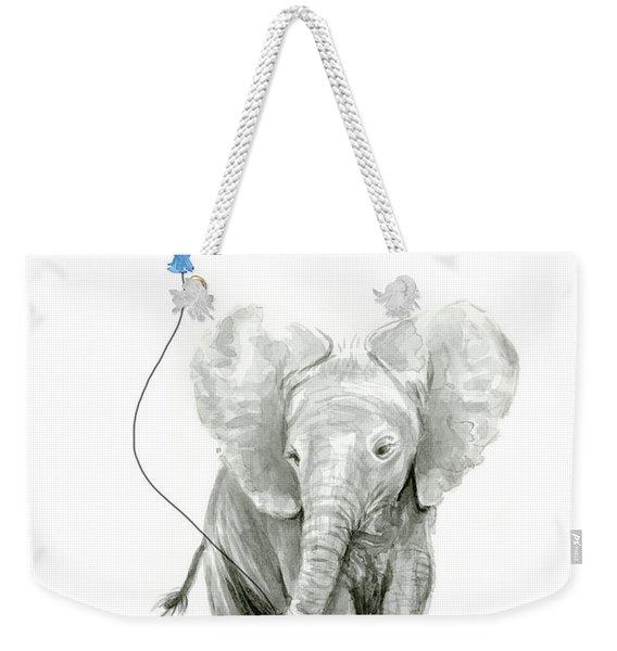 Elephant Watercolor Blue Nursery Art Weekender Tote Bag