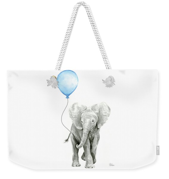 Elephant Watercolor Blue Nursery Art Weekender Tote Bag