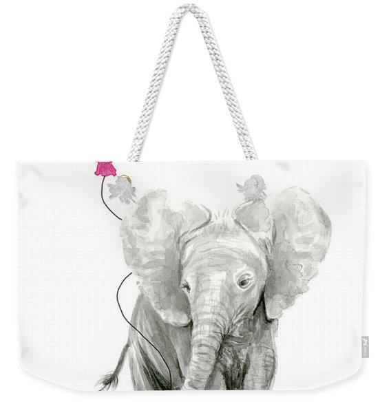 Baby Elephant Watercolor  Weekender Tote Bag