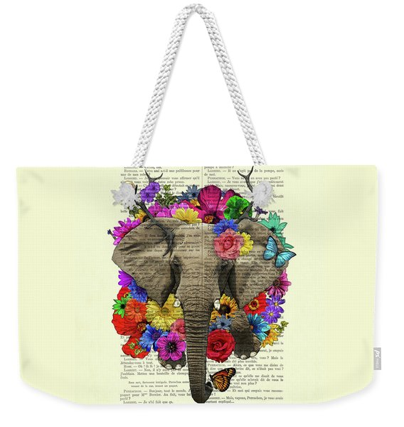 Elephant With Colorful Flowers Illustration Weekender Tote Bag