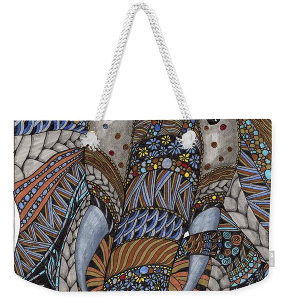 Weekender Tote Bag featuring the drawing Elle by Barbara McConoughey