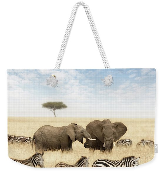 Elephants And Zebras In The Grasslands Of The Masai Mara Weekender Tote Bag