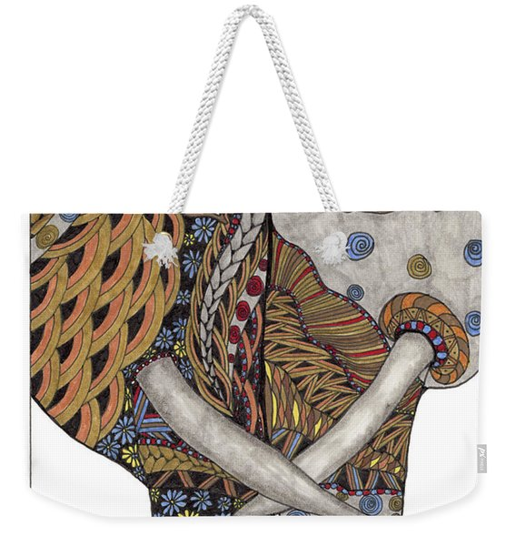 Weekender Tote Bag featuring the drawing Love by Barbara McConoughey