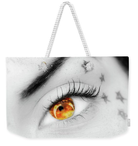 Weekender Tote Bag featuring the photograph Eclipse And Lashes by Scott Cordell