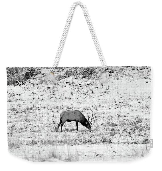 Elk In Black And White - Estes Park Weekender Tote Bag