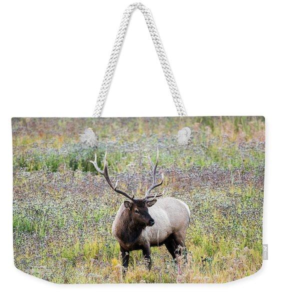 Elk In Wildflowers #1 Weekender Tote Bag