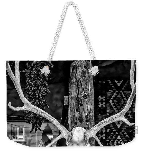 Elk Skull In Black And White Weekender Tote Bag