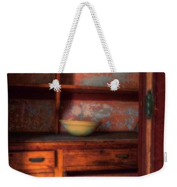 Weekender Tote Bag featuring the photograph Ellis Island Cabinet by Tom Singleton
