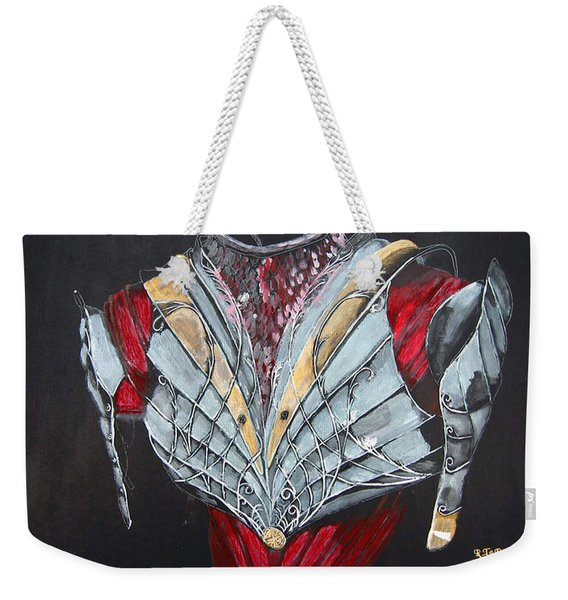 Weekender Tote Bag featuring the painting Elven Armor by Richard Le Page