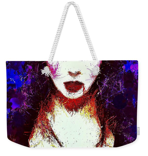 Weekender Tote Bag featuring the mixed media Elvira Mistress Of The Dark by Al Matra