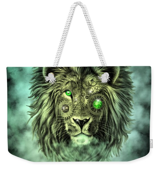 Emerald Steampunk Lion King Weekender Tote Bag