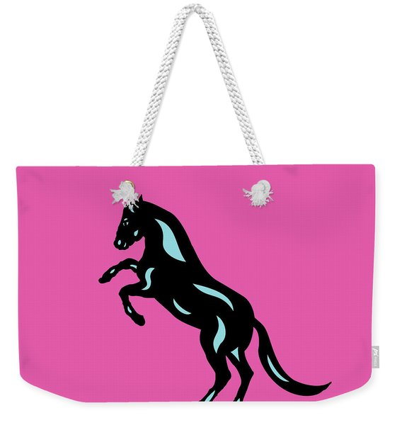 Emma - Pop Art Horse - Black, Island Paradise Blue, Pink Weekender Tote Bag