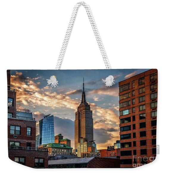 Empire State Building Sunset Rooftop Weekender Tote Bag