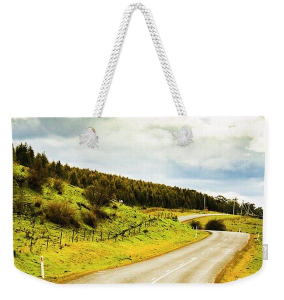 Empty Asphalt Road In Countryside Weekender Tote Bag
