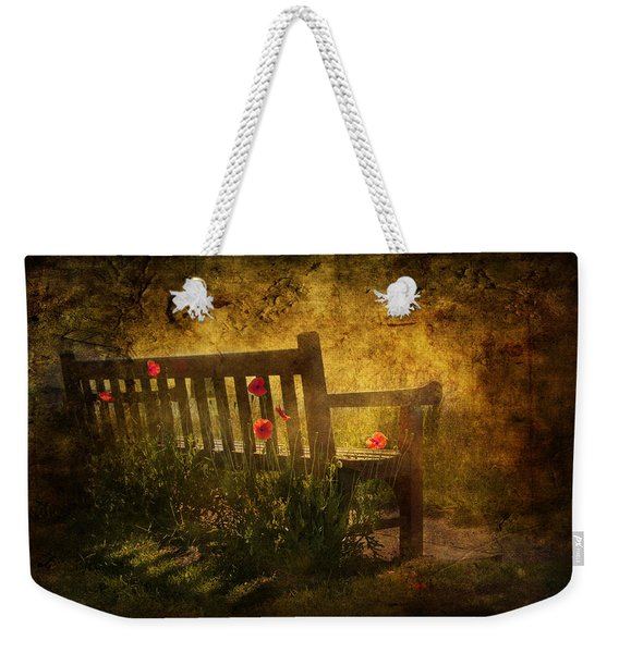 Empty Bench And Poppies Weekender Tote Bag