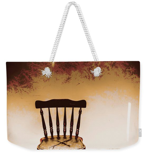 Empty Wooden Chair With Cross Sign Weekender Tote Bag