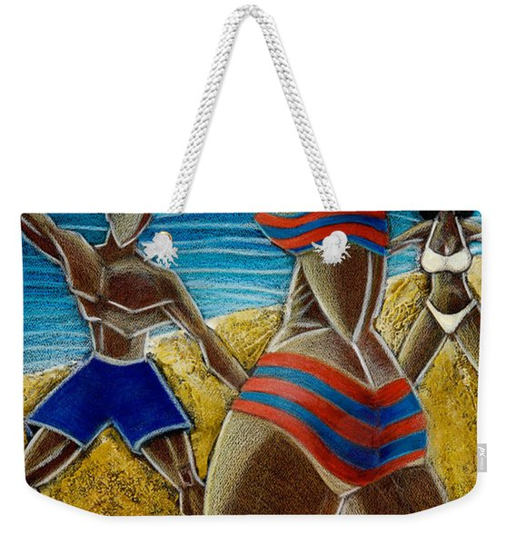 Weekender Tote Bag featuring the painting En Luquillo Se Goza by Oscar Ortiz