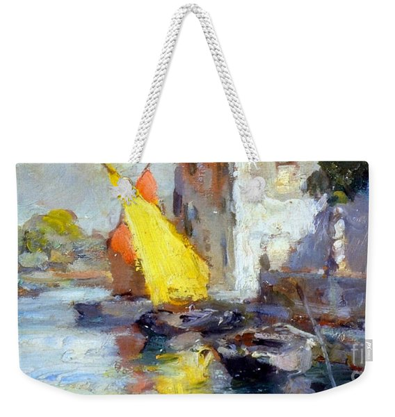 Weekender Tote Bag featuring the painting En Plein Air In Venice by Rosario Piazza