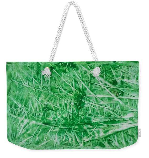 Encaustic Abstract Green Foliage Weekender Tote Bag