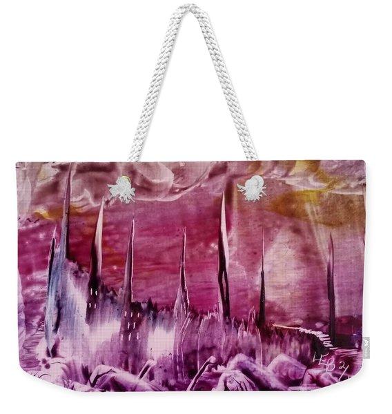 Encaustic Purple-pink Abstract Castles Weekender Tote Bag