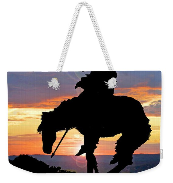 End Of The Trail Sculpture In A Sunset Weekender Tote Bag