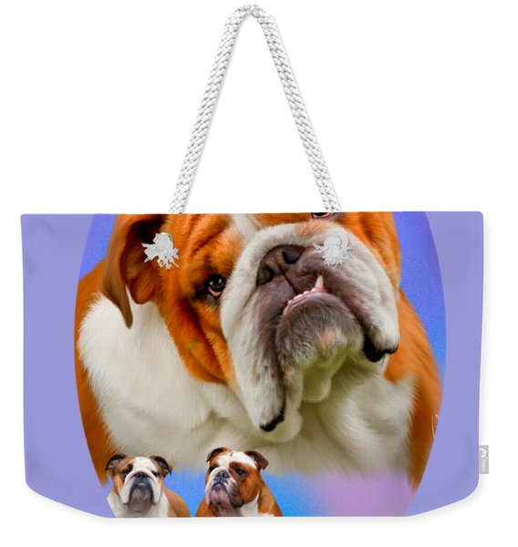 English Bulldog With Border Weekender Tote Bag