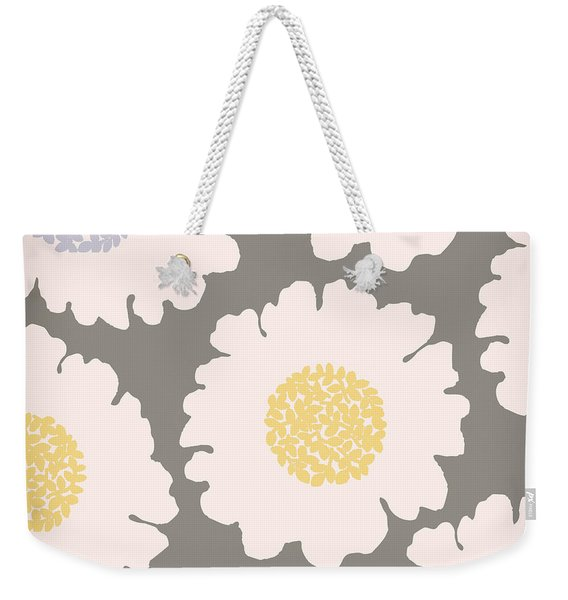 English Garden White Flower Pattern Weekender Tote Bag
