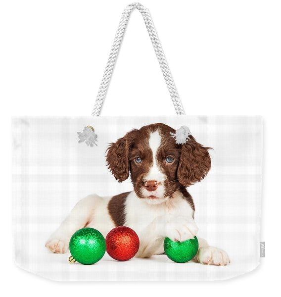 English Springer Spaniel Puppy With Christmas Baubles Weekender Tote Bag
