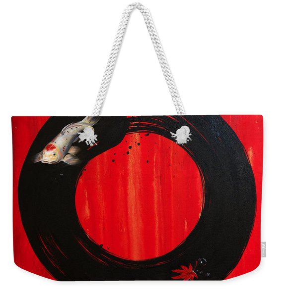 Weekender Tote Bag featuring the painting Enso With Koi Red And Gold by Sandi Baker