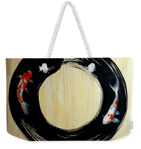 Weekender Tote Bag featuring the painting Enso With Koi by Sandi Baker