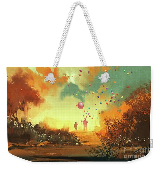 Weekender Tote Bag featuring the painting Enter The Fantasy Land by Tithi Luadthong