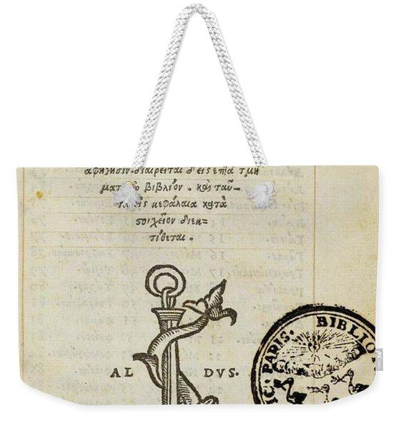 Epigrammatum  Weekender Tote Bag