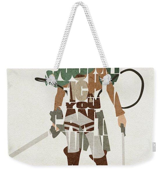 Eren Jaeger Typography Art Weekender Tote Bag