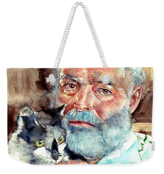 Ernest Hemingway Watercolor Weekender Tote Bag