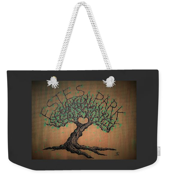 Weekender Tote Bag featuring the drawing Estes Park Love Tree by Aaron Bombalicki