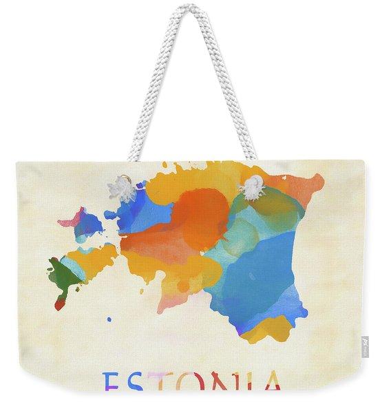Estonia Watercolor Map Weekender Tote Bag